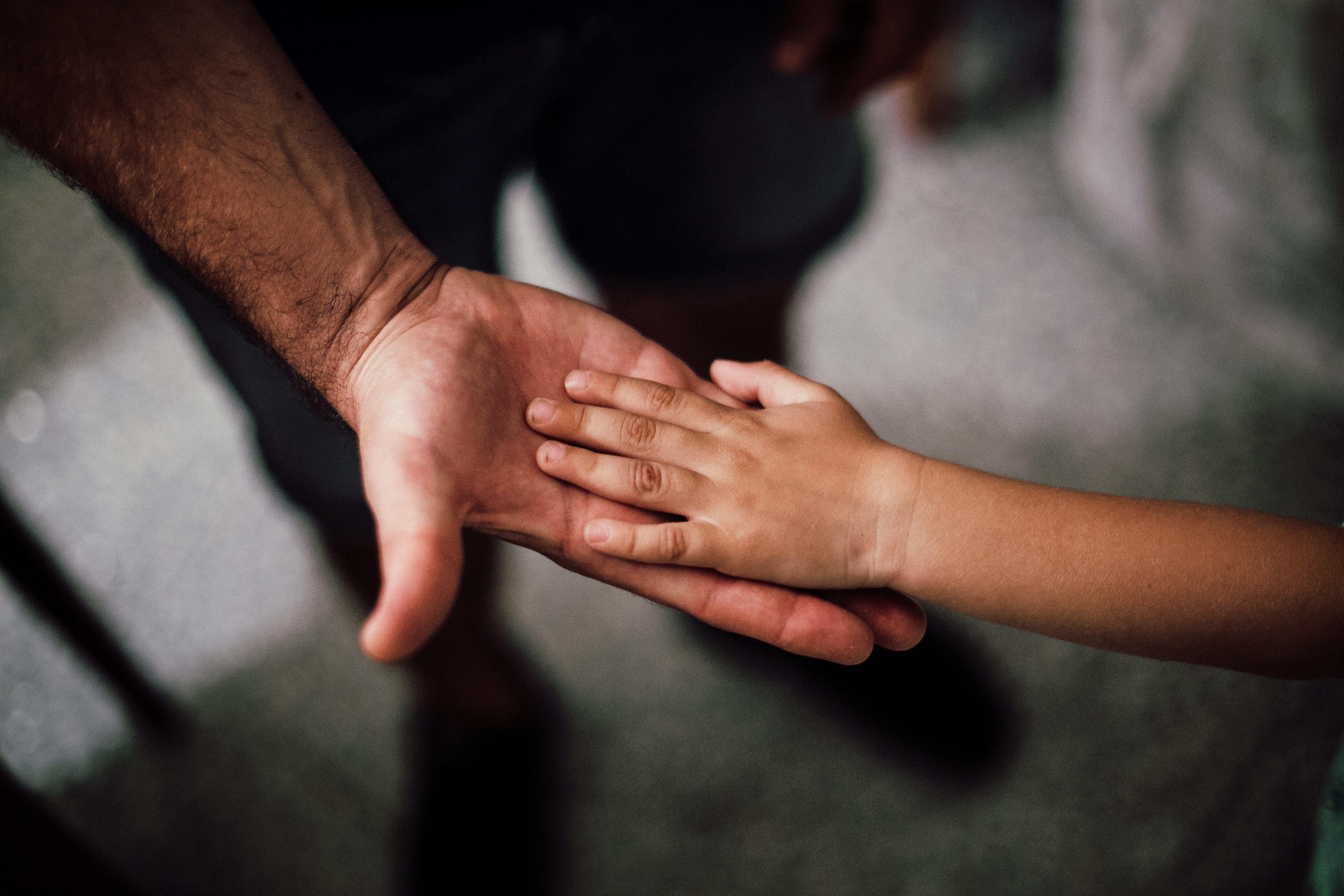 dad and kids hands
