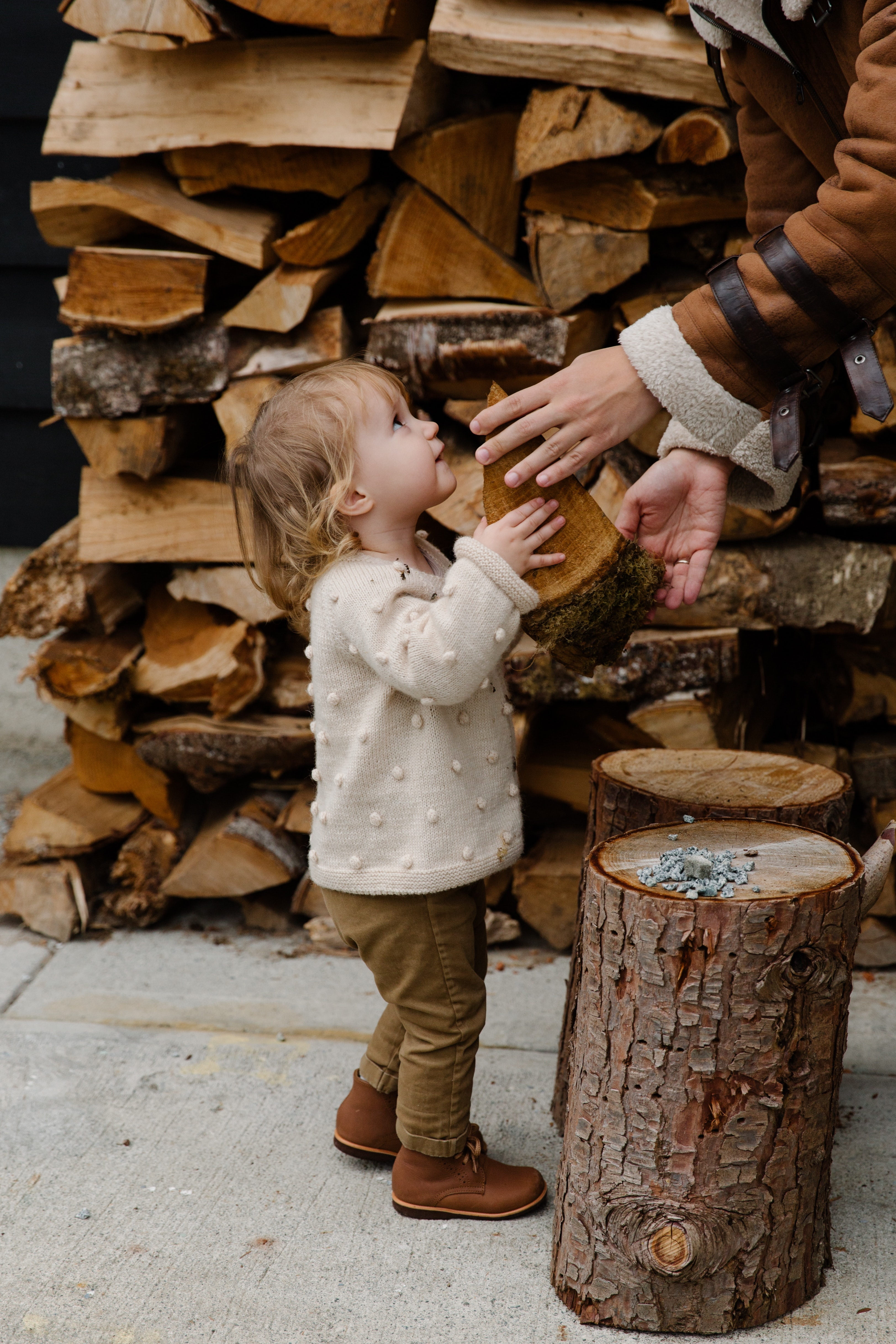 little girl looking at father standing near firewood 3850057